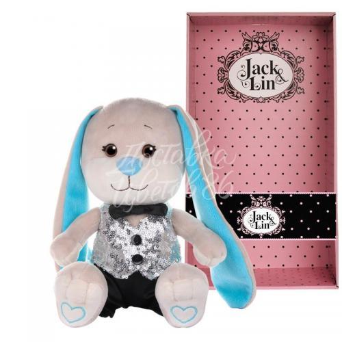 """Мягкая игрушка """"Зайчик """"Jack&Lin"""" в серебряной жилетке и черных брючках"""